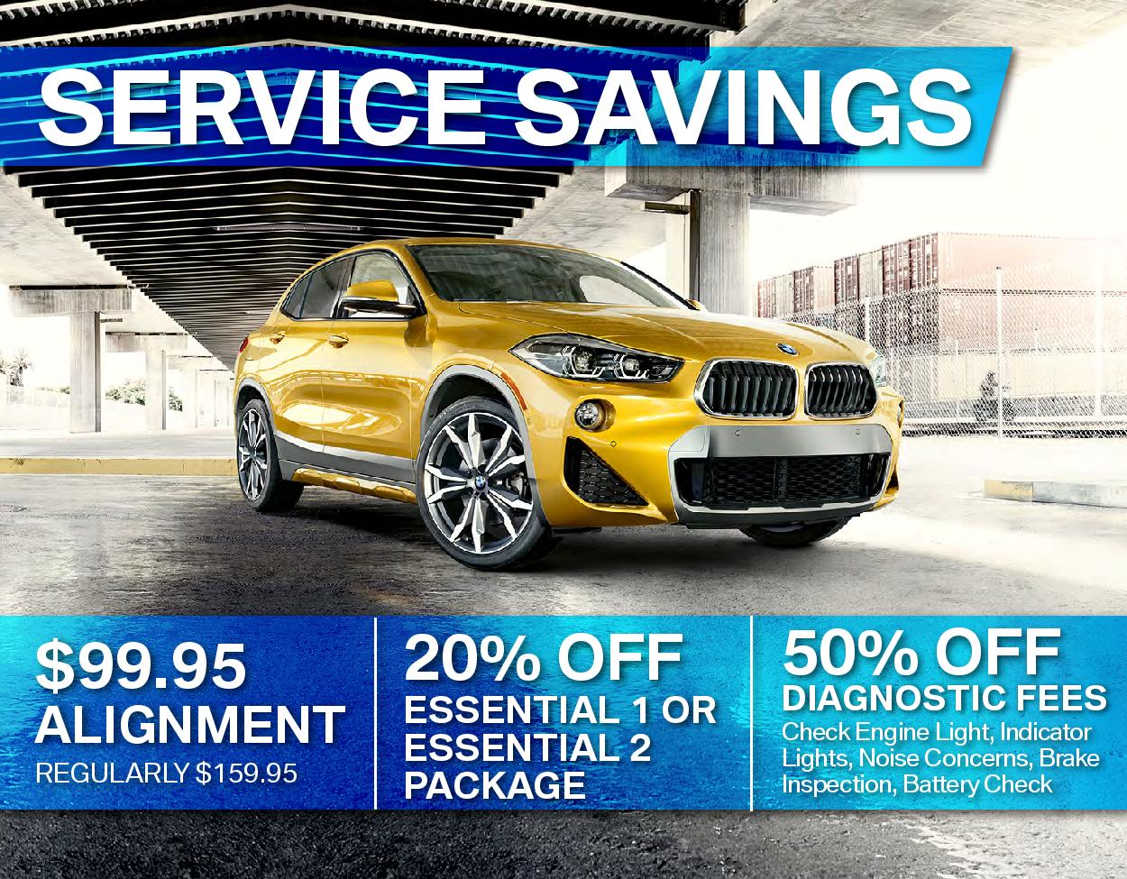 $99.95 Alignment / 20% OFF Essentials Package 1 or 2 / 50% OFF Diagnostic Fees